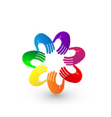 Colorful hands teamwork logo illustration vector