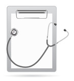 clipboard with stethoscope icon 3d