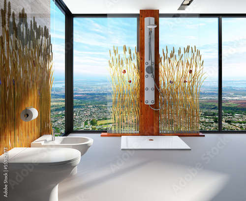 Awesome nature style bathroom interior with shower cubicle