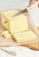 Butter cutting by knife