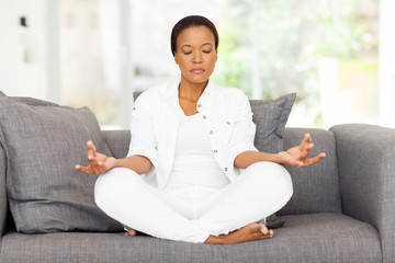 young african woman meditating