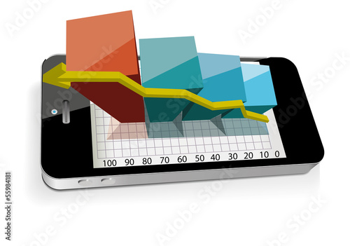 Smart phone with bar chart