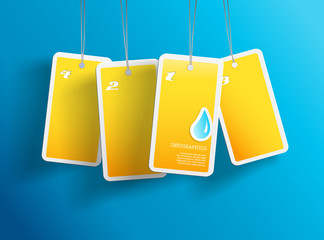 Four hanging yellow aqua cards. You can place your own text on e