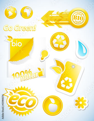 Set of yellow ecology icons.