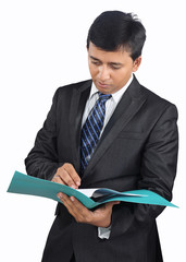 Indian businessman checking the documents