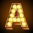 Old lamp alphabet for light board. Letter A