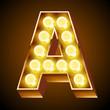 Old lamp alphabet for light board. Letter A