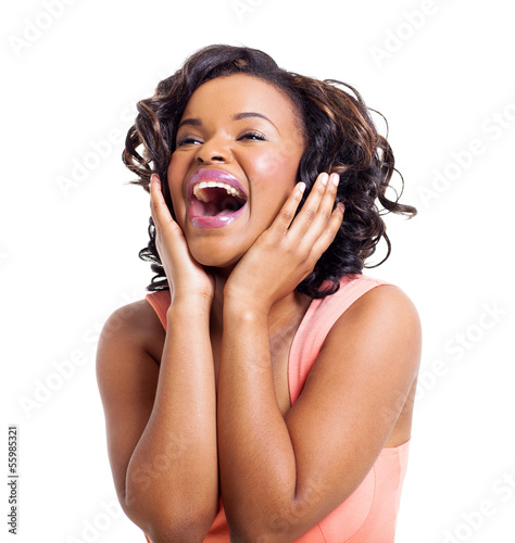 cute african american woman laughing