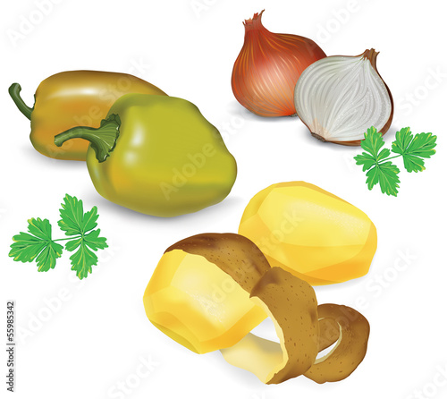 Fresh vegetables set, vector