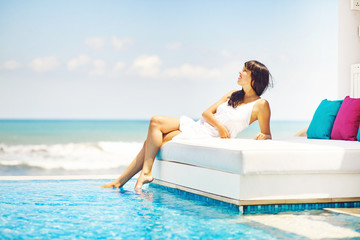 woman in luxury resort in bali