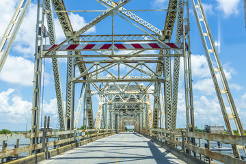 old bridge in East area of New Orleans crossing the bay