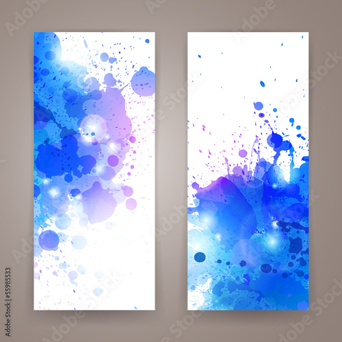 Vector Illustration of Abstract Banners with Blots