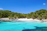 Fototapety Cala Turqueta beach in sunny day, Menorca