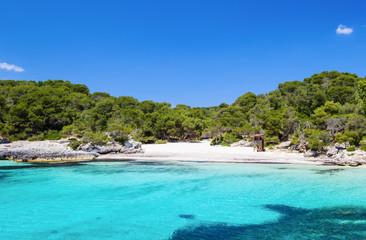 Cala Turqueta beach in sunny day, Menorca