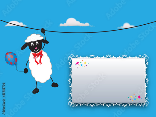 Greeting card with sweet sheep - Place your text