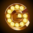 Old lamp alphabet for light board. Letter G