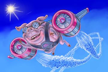 flying pig with a jet pack illustration