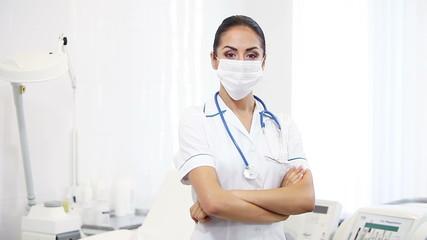 beautiful brunette woman medical worker