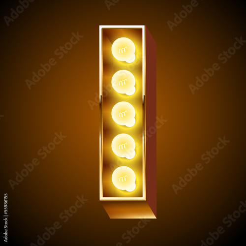 Old lamp alphabet for light board. Letter I