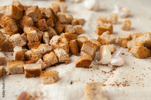 rye bread croutons on fabric