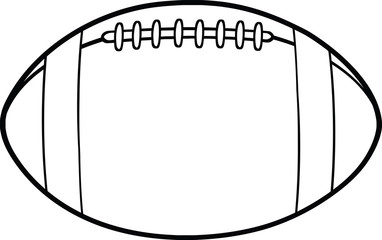 Black And White American Football Ball Cartoon Illustration