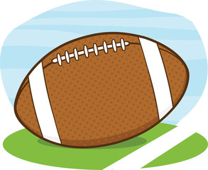 American Football Ball On Field Cartoon Illustration