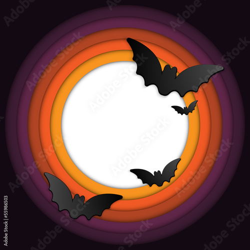 Halloween Bat Circle Frame Pumpkin Background