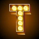 Old lamp alphabet for light board. Letter T