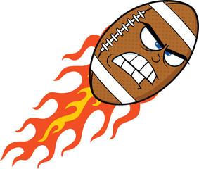 Angry Flaming American Football Ball Cartoon Mascot Character