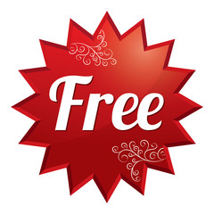 Free tag. Red round star floral sticker.