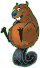 Cute Beaver Balancing on Tail Vector Cartoon