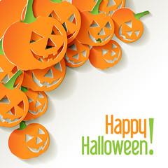Halloween Pumpkin Origami Papier Weiß Ecke Postkarte