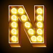 Old lamp alphabet for light board. Letter N