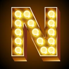 Old lamp alphabet for light board. Letter N