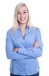 Blondes Mädchen lachend in Bluse blau isoliert