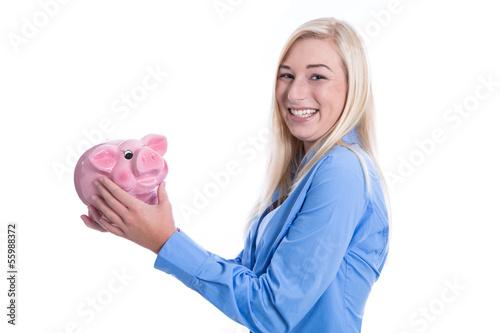 Bankenwerbung - junges Mädchen mit Sparschwein isoliert