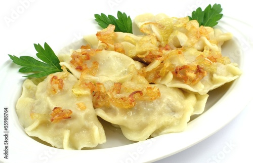 dumplings with meat, cabbage and onion - 55988764