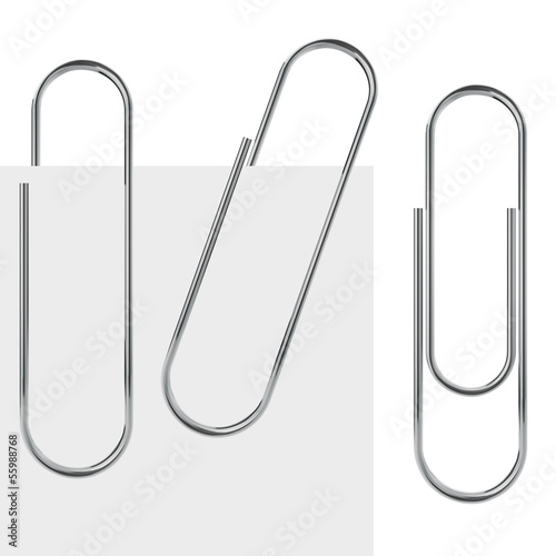 Metal paperclip vector template isolated on white