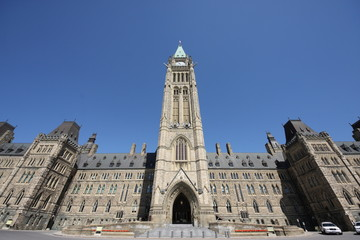 Wide angle view of Canada's Parliament Building, Ottawa, Canada