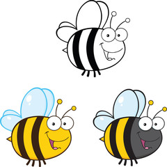 Cute Bee Cartoon Mascot Characters. Set Collection 3