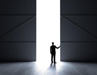 businessman open doors