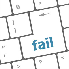 fail word on key showing fail failure mistake or sorry concept