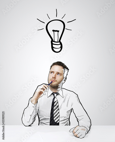 thinking drawing businessman