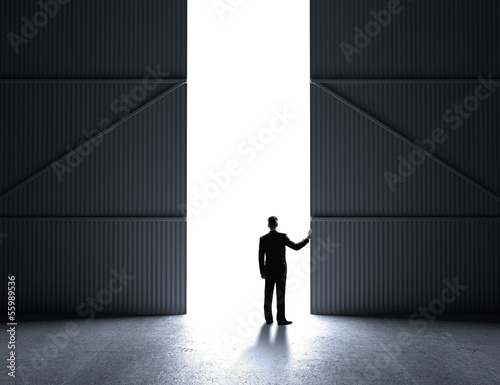 businessman open doors