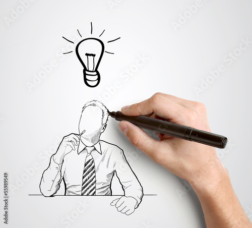 hand drawing businessman