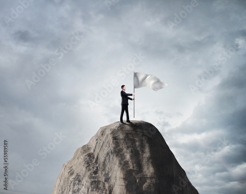 businessman with white flag