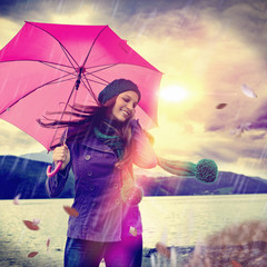 a walk in the rain / pink umbrella 01