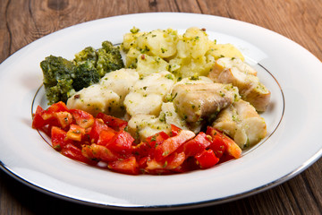 tasty healthy monkfish  with vegetables