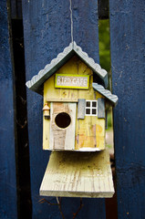 "Wooden birdhouse called ""Bird Cafè"""