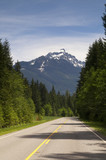 Two Lane Highway Winds Thru North Cascade Mountains Washington